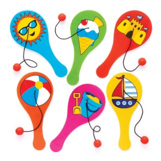 Beach Biff Bats - 6 Paddle Bats and Balls On Elastic. Summer Party Bag Fillers. Size 12cm.