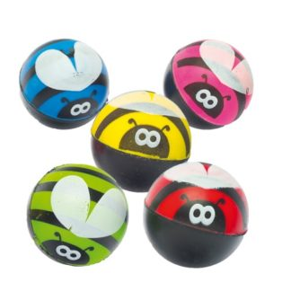 Bumble Bee Bouncy Balls - 12 Super Bouncy Rubber Balls In 6 Assorted Colours. Jet High Bounce Balls. Size 2.8cm.