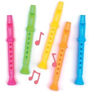 Colourful Flutes - 6 Mini Plastic Coloured Flutes. 14cm. Assorted Colours.