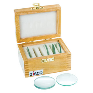 Eisco PH0538A - 50mm Glass Lenses with Wooden Storage Box - Set of 6