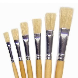 Flat Paint Brushes - 6 Short Handled Hog Brushes In Different Sizes.
