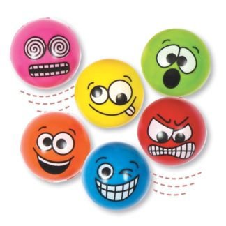 Funny Faces High Bounce Balls (Pack of 6)
