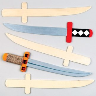 Kids Wooden Swords - 4 Craft Swords for Kids to Paint and Decorate. Made from 4mm thick wood. 32cm long.
