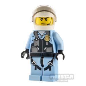 Product shot LEGO City Minfigure Helicopter Pilot Bright Light Blue Jumpsuit