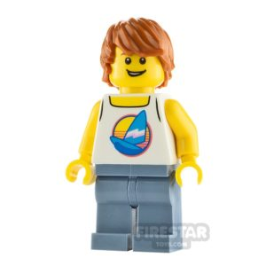 Product shot LEGO City Minfigure Male Surfer with White Tank Top
