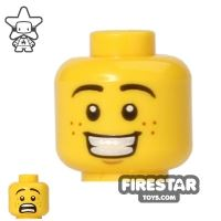 Product shot LEGO Mini Figure Heads - Big Grin/Scared - Freckles