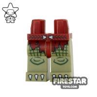 Product shot LEGO Mini Figure Legs - Crocodile - Red Loincloth