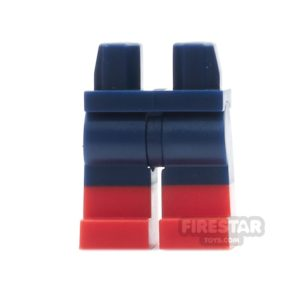Product shot LEGO Mini Figure Legs - Dark Blue with Red Boots
