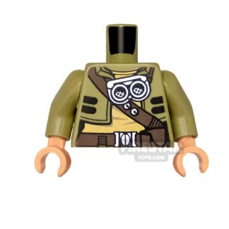 Product shot LEGO Mini Figure Torso - Cropped Jacket with Belts and Goggles