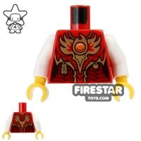Product shot LEGO Mini Figure Torso - Eagle - Red and Gold Armour