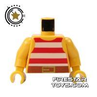 Product shot LEGO Mini Figure Torso - Red Striped Pirate Vest