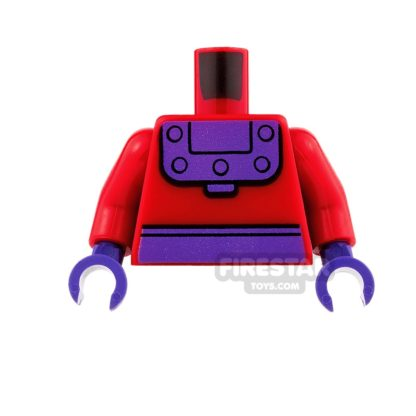 Product shot LEGO Mini Figure Torso - Red and Purple - Magneto