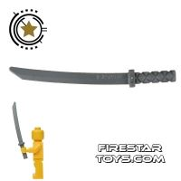 Product shot LEGO -  Ninja Shamshir Sword - Square Guard - Flat Silver