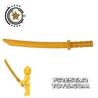 Product shot LEGO -  Ninja Shamshir Sword - Square Guard - Pearl Gold