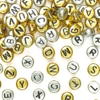 Metallic Craft Letter Beads - 400 Gold & Silver Alphabet Beads. Size 6mm.