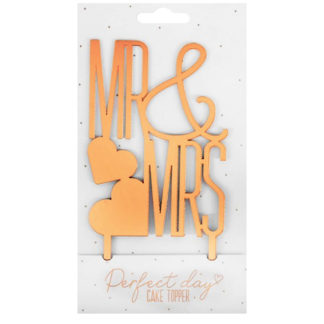 Product shot Mr And Mrs Gold Cake Topper
