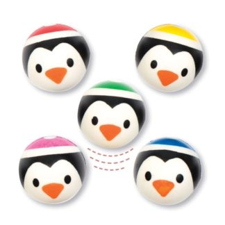 Penguin Bouncy Balls - 10 Super Bouncy Rubber Balls In 6 Assorted Designs. Jet High Bounce Balls. Size 3.2cm.