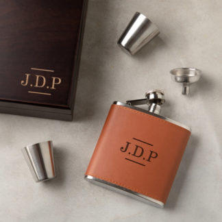 Personalised Initials Hip Flask Gift Set
