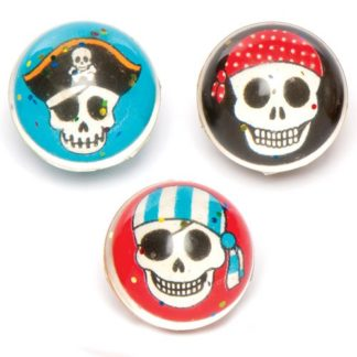 Pirate Bouncy Balls - 6 Super Bouncy Rubber Balls In 3 Assorted Designs. Jet High Bounce Balls. Size 3.2cm.