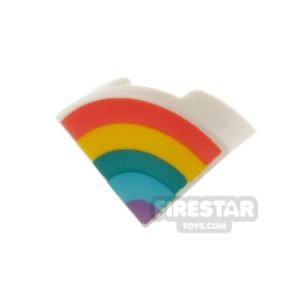 Product shot Printed Round Quarter Tile 1 x 1 Pastel Rainbow