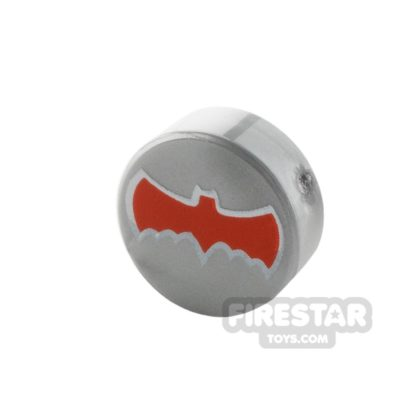 Product shot Printed Round Tile 1x1 - Batman Logo