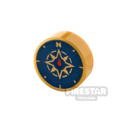 Product shot Printed Round Tile 1x1 - Compass