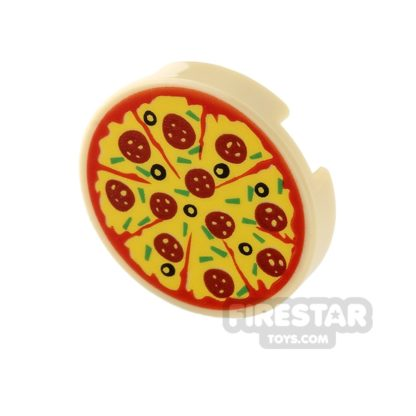 Product shot Printed Round Tile 2x2 - Pepperoni Pizza with Olives