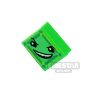 Product shot Printed Tile 1x1 - Kryptomite Face - Green