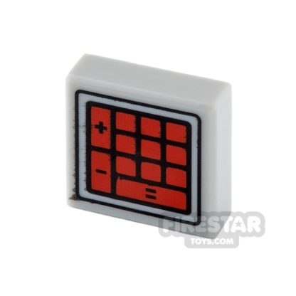 Product shot Printed Tile 1x1 - Red Calculator Buttons