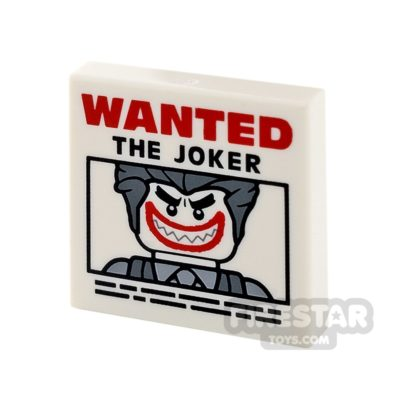 Product shot Printed Tile 2x2 - Joker Wanted Poster