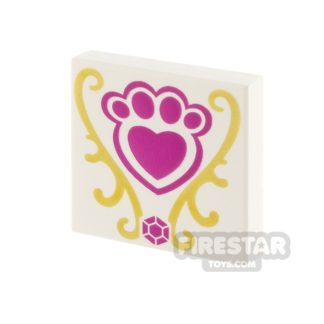 Product shot Printed Tile 2x2 - Pink Pet Paw