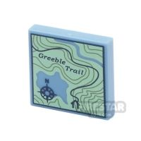 Product shot Printed Tile 2x2 - Topographical Trail Map