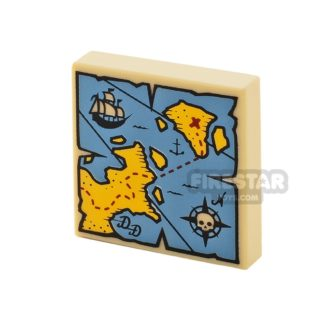 Product shot Printed Tile 2x2 - Treasure Map