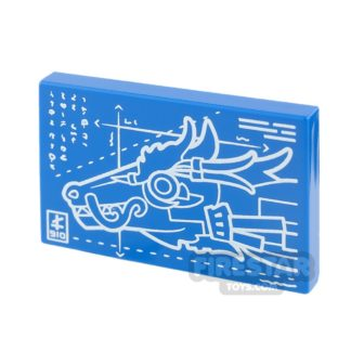 Product shot Printed Tile 2x3 - Dragon Head Blueprints