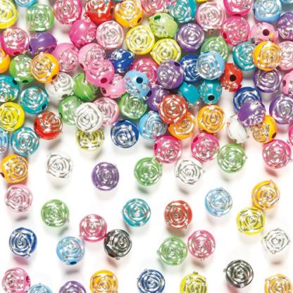 Rose Beads - 400 Acrylic Rose Beads in assorted colours including pink