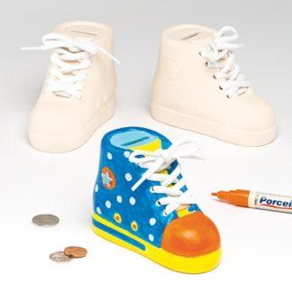 Shoe Money Box - ceramic trainer money box to paint and decorate. 9cm high.