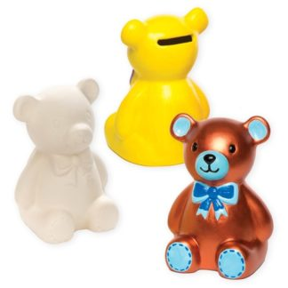 Teddy Bear Ceramic Coin Banks (Box of 2)