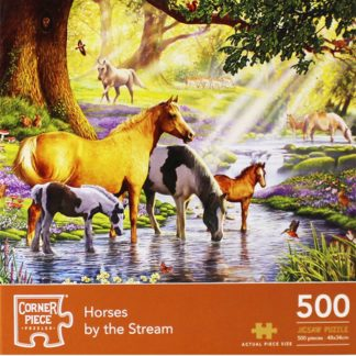 Product shot Horses By The Stream 500 Piece Jigsaw Puzzle