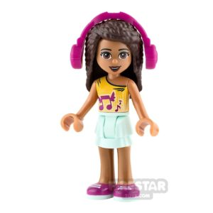 Product shot LEGO Friends Mini Figure - Andrea - Orange Top with Music Notes