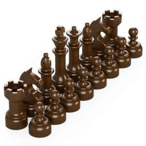 Product shot BrickMini Chess Pieces - Reddish Brown Set
