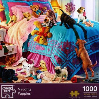Product shot Naughty Puppies 1000 Piece Jigsaw Puzzle