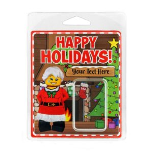 Product shot Personalised Minifigure Packaging Happy Holidays
