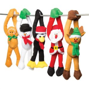 Christmas Character Plushies - 5 Assorted Hanging Soft Toys With Gripping Hands. Plush Stuffed Toys Stocking Fillers. Size 21cm.