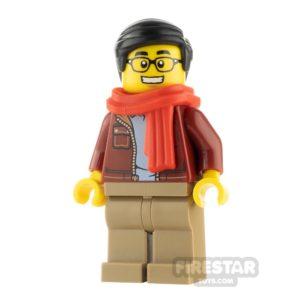 Product shot LEGO City Minfigure Man Dark Red Jacket