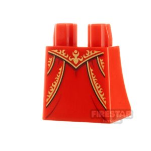 Product shot LEGO Minifigure Legs Curved Skirt Gold Pattern and Creases