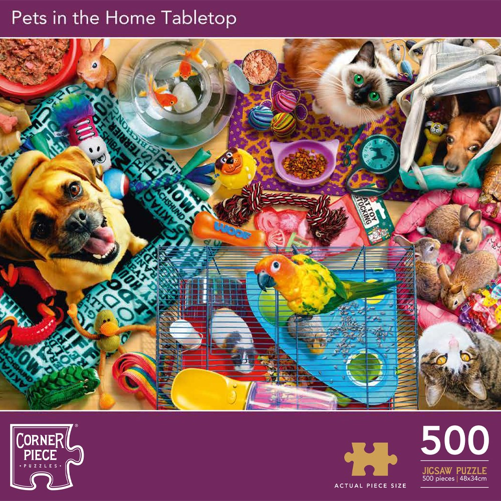 Product shot Pets In The Home Tabletop 500 Piece Jigsaw Puzzle