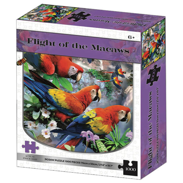Product shot Flight Of The Macaws 1000 Piece Jigsaw Puzzle