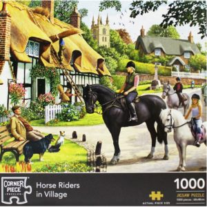 Product shot Horse Riders In Village 1000 Piece Jigsaw Puzzle