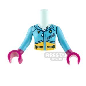 Product shot LEGO Friends Mini Figure Torso - Dark Azure Ski Vest