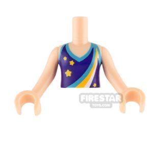 Product shot LEGO Friends Mini Figure Torso - Dark Purple Halter Top with Stars